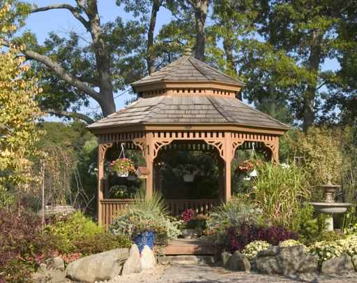 Wood gazebo in wooden areas