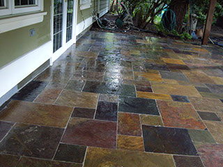 Freshly power washed slate patio, nice and shiny